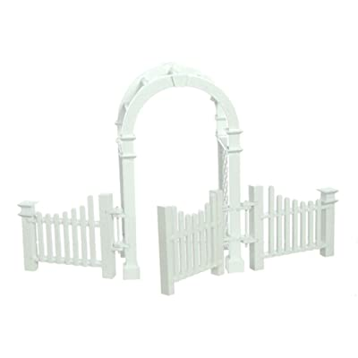 Town Square Miniatures Dolls House Miniature Garden Furniture White Wooden Arbour With Gate & Fences: Toys & Games
