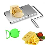 Keledz Cheese Slicer Stainless Steel Wire Cutter With Serving Board for Hard and Semi Hard Cheese Butter