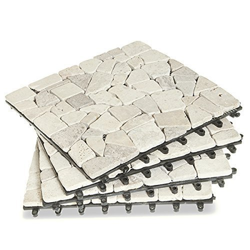 Garden Winds Beige Split Stone Deck Tiles, Box of 10 10 Deck Tiles