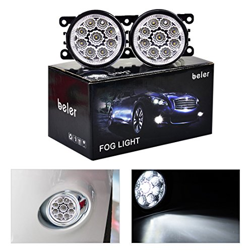 beler 2 Pack LED White Fog Light Lamp Replacement in Box for Acura Honda Ford Nissan Lincoln Jaguar Subaru Suzuki Porsche (9 LED Bulbs)