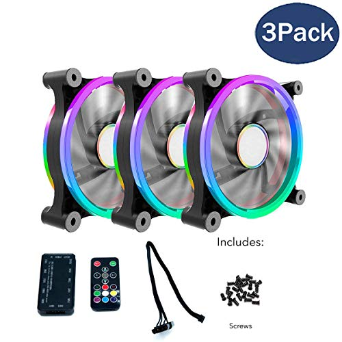 CloverTale 3 Pack Set RGB LED 120mm Case Fan with Controller, Quiet Edition High Airflow Adjustable Color LED Case Fan for PC Cases, CPU Coolers, Radiators System by Fstop Labs