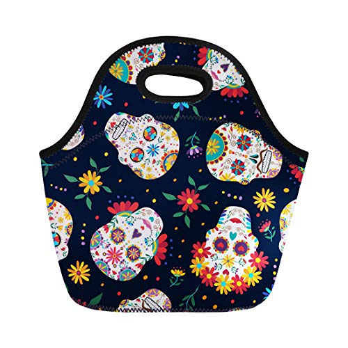 Semtomn Neoprene Lunch Tote Bag Day Traditional Mexican Sugar Skull Flowers and Colorful Dead Reusable Cooler Bags Insulated Thermal Picnic Handbag for Travel,School,Outdoors, -