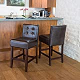 Gregory Brown Leather Back Counter Stools (Set of 2) For Sale