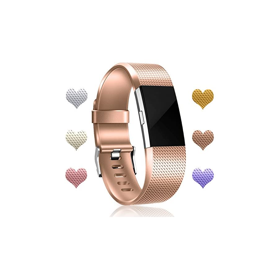 Wepro Bands Replacement Compatible Fitbit Charge 2 HR, Small Large