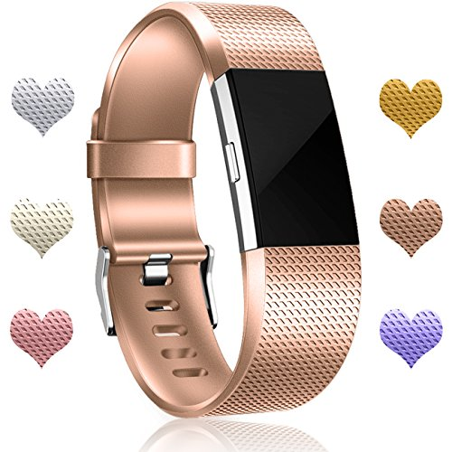 Wepro Bands Compatible with Fitbit Charge 2 HR for Men Women Girls Kids, Small, Rose Gold