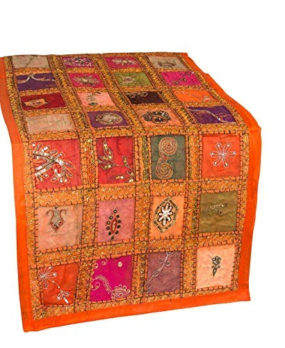 (Labhanshi Orange Embroidered Table Runner - Indian Cotton Boho Bohemian Hippie Patchwork Decoration Decor Tapestry Wedding Reception Party Decor 18 x 58 Inch)