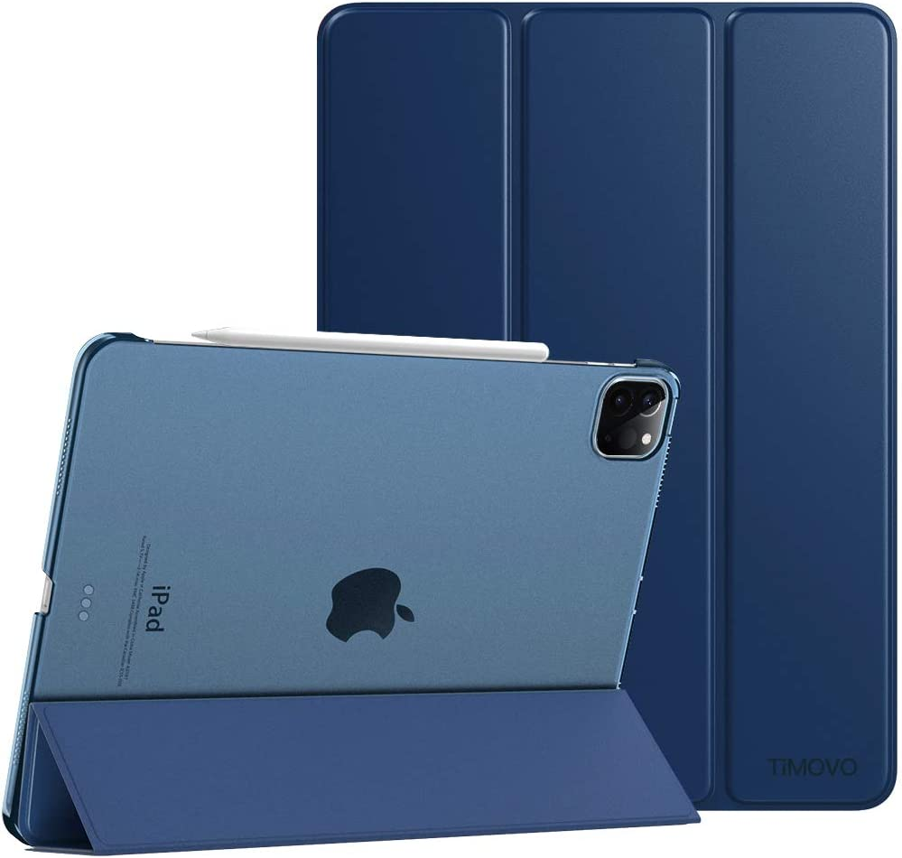 TiMOVO Case Fit New iPad Pro 12.9 Inch 2020 (4th Generation), Smart Slim Lightweight Translucent Frosted Back Protective Cover Shell, Support iPad Pencil Charging, Auto Wake/Sleep - Navy Blue