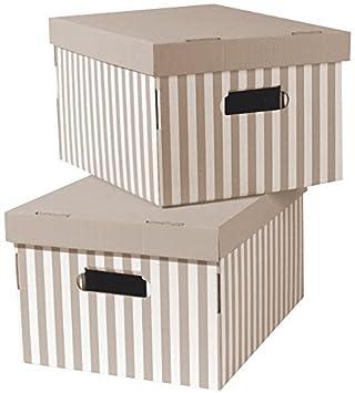 livraison gratuite b1078 57177 COMPACTOR Lot de 2 Boîtes de Rangement en Carton Ondulé, Avec Poignées,  Empilables, Taupe, 40 x 31 x H. 21 cm, RAN4583