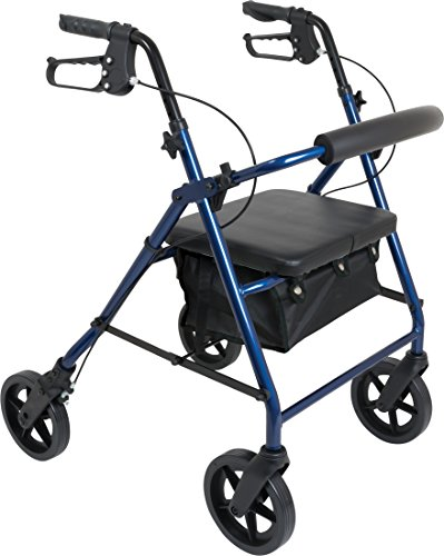 (ProBasics 4 Wheel Medical Rolling Walker with Wheels, Seat, Backrest and Storage Pouch - Rollator Walker for Seniors- Durable Aluminum Frame Supports up to 300 lbs, 8-inch Wheels, Blue)