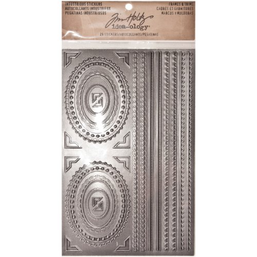 Frames and Trims Industrious Stickers by Tim Holtz Idea-ology, 26 Stickers, Metallic, TH93136