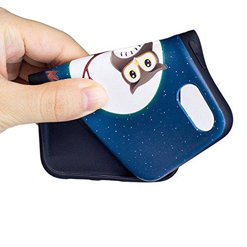 iPhone X Hülle Mond Eule Premium Handy Tasche Schutz Schale Für Apple iPhone X / iPhone 10 (2017) 5.8 Zoll + Zwei Geschenk