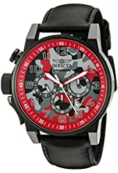 Invicta Watches Mens I-Force Chronograph Genuine Leather Band Watch