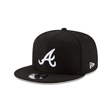 345d715a9e8 Image Unavailable. Image not available for. Color  New Era Authentic Atlanta  Braves Black   White 9Fifty Snapback Cap Adjustable 950