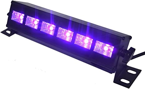 Barra de Luz LED UV, Indmird Luces Negras con 3W x 6 LED Proyector ...