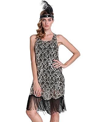PrettyGuide Women 1920s Flapper Dress Sequin Paisley Racer Back Cocktail Gatsby Dress