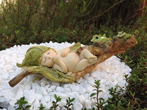CHSGJY Miniature Dollhouse Fairy Garden Accessories Sleeping Leaf Fairy Baby