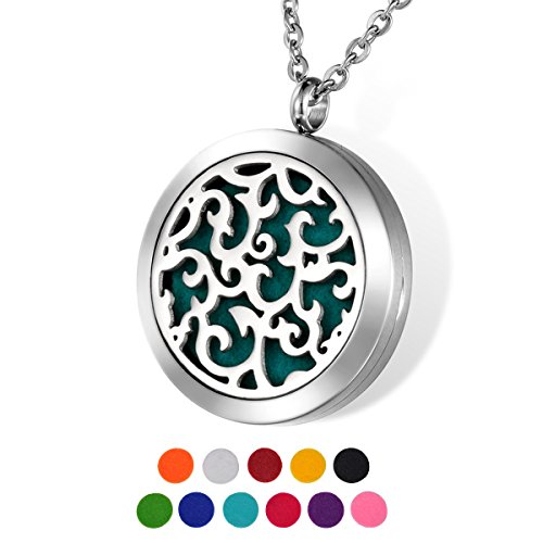HOUSWEETY Aromatherapy Essential Oil Diffuser Necklace-Stainless Steel Locket Pendant,11 Refill Pads