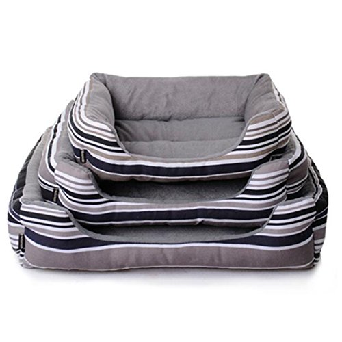 Spring fever Deep Pet Bed Dog Cat Stripe Crate Mat Rainbow Water-resistant base Grey Stripe S(17.715.74.7 inch)