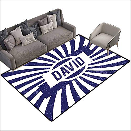 Non-Slip Bath Hotel Mats David,Boys Birthday Theme Retro Style Graphic Letters on Grungy Navy Color Stripes,Navy Blue and White 48