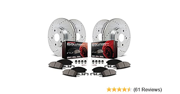 Power Stop K1236 Front Ceramic Brake Pad and Cross Drilled//Slotted Combo Rotor One-Click Brake Kit