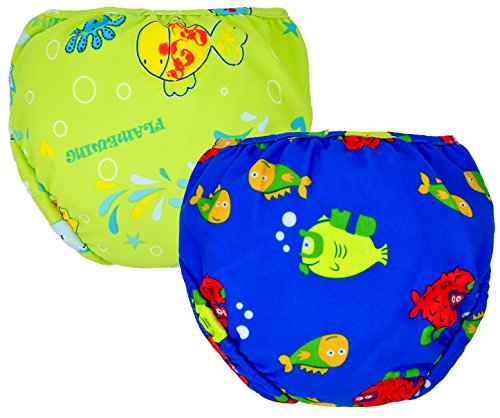 Swim Diapers for Baby Boys,2 Pack,Reuseable and Adjustable Velcro Design 4 Size 0-3 Year. 10-50lbs Baby