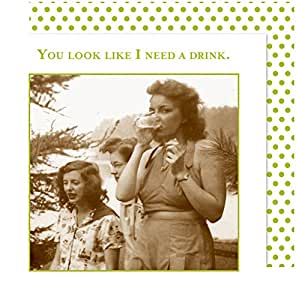 Shannon Martin Girl Designer 20 Count Beverage Napkins, I Need a Drink