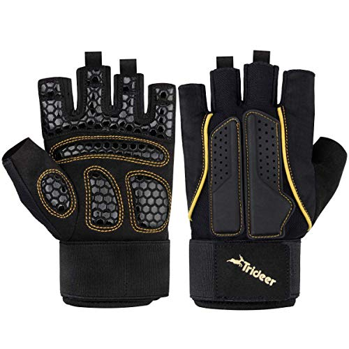 Trideer Double Protection Weight Lifting Gloves, Padded Gym Gloves for Extra Grip, Breathable & Ultralight Workout Gloves for Men & Women (Golden, L (Fits 7.5-8.2 Inches))