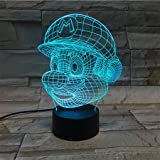 LE3D 3D Optical Illusion Desk Lamp/3D Optical Illusion Night Light, 7 Color LED 3D Lamp, Super Mario 3D LED For Kids and Adults, Super Mario Light Up
