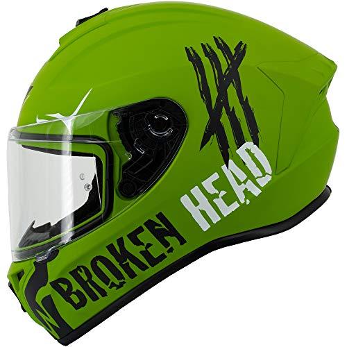 Broken Head Adrenalin Therapy 4X – Sportlicher Integralhelm – Motorrad-Helm – Military-Grün Matt – Größe XL (61-62 cm)