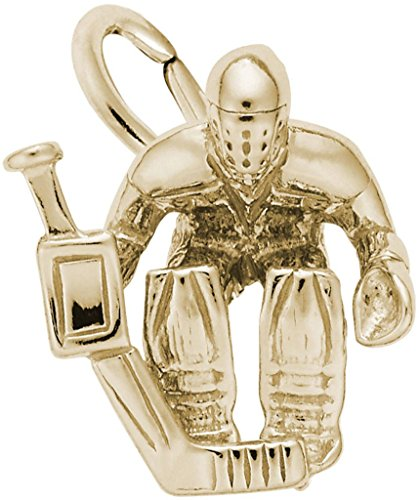 Rembrandt Hockey Goalie Charm - Metal - 14K Yellow - Charm Gold Goalie Hockey