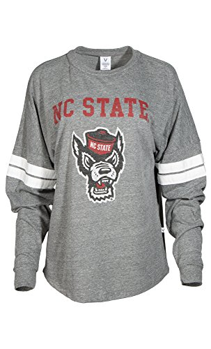 NCAA North Carolina State Wolfpack Betty Long Sleeve Tri-Blend Football Jersey T-Shirt, X-Large, Tri Grey/White