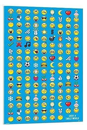 iPosters Empire - Póster de Pared, diseño de Emoticono Sonriente Flotador montado - 90 x 60 cms (Aprox. 36 x 24 Pulgadas): Amazon.es: Hogar