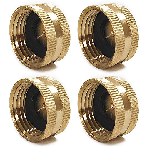 Twinkle Star 4 Pack Garden Hose Brass Hose Cap with Washers, 3/4