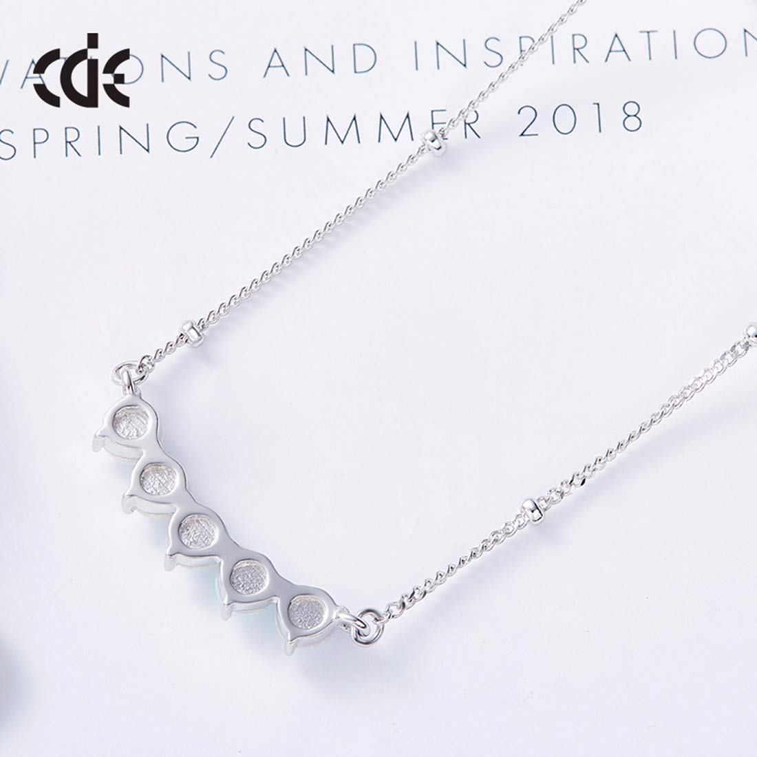 CQFONG 925 Sterling Silver Pendant Necklace with Opal Stones for Women Girl Twinkling-Collection