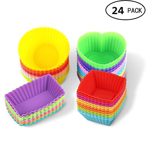 Silicone Cupcake Baking Cups Liners Reusable Cake 24 Pack Non-Stick Muffin Molds Sets