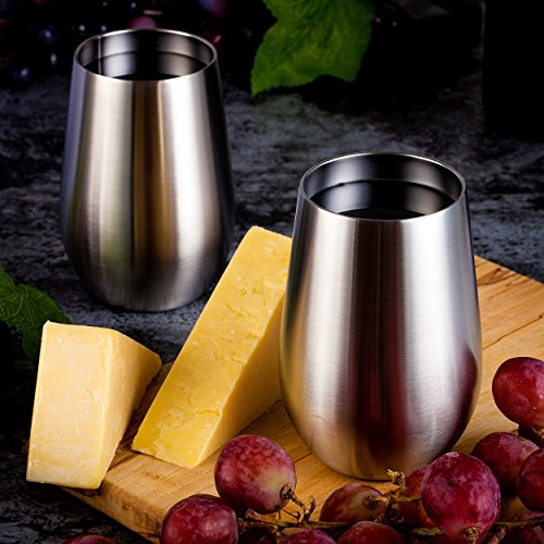Stainless Steel Wine Glasses, Vacuum Insulated with Lids (Set of 2) - Double Wall Stemless Metal Wine Glass for Outdoor Travel, Camping, Red White Wine, 12oz, Unbreakable, Portable, BPA Free