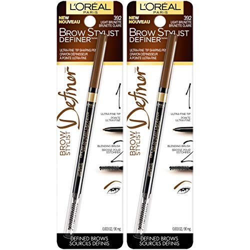 L'Oréal Paris Makeup Brow Stylist Definer Waterproof Eyebrow Pencil, Ultra-Fine Mechanical Pencil, Draws Tiny Brow Hairs & Fills in Sparse Areas & Gaps, Light Brunette, 2 Count
