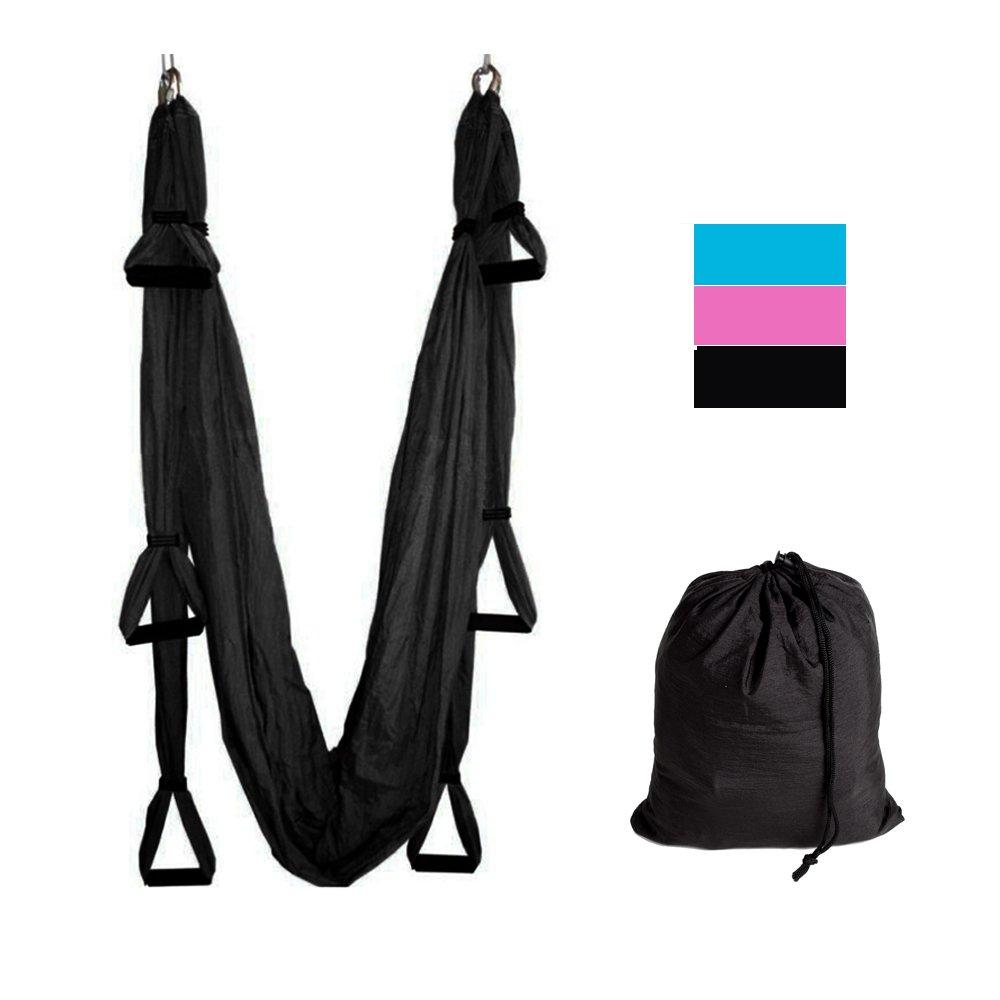 Yoga Swing/Trapeze,Yoga Inversion Sling Swing,Aerial Anti-Gravity Yoga Hammock Swing Trapeze Fitness Inversion Pilates (Black)