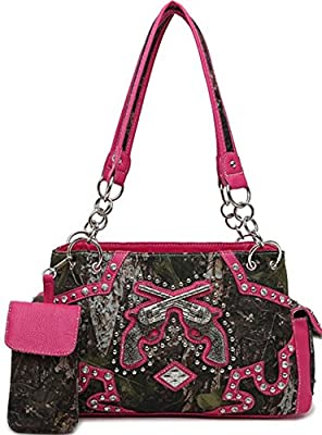 Western Cowgirl Guns Pistol Camo Satchel Purse w/Concealed Weapon Gun Pocket