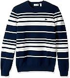 Lacoste Men's Milano Stitch Stripe Sweater, AH2977-51, Ship/Flour, 4XL