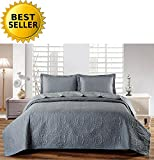 Elegant Comfort Luxury LightWeight 2-Piece Bedspread Coverlet Quilt Set with Shams -All Season- HypoAllergenic- Wrinkle & Fade Resistant- King, Dark Grey
