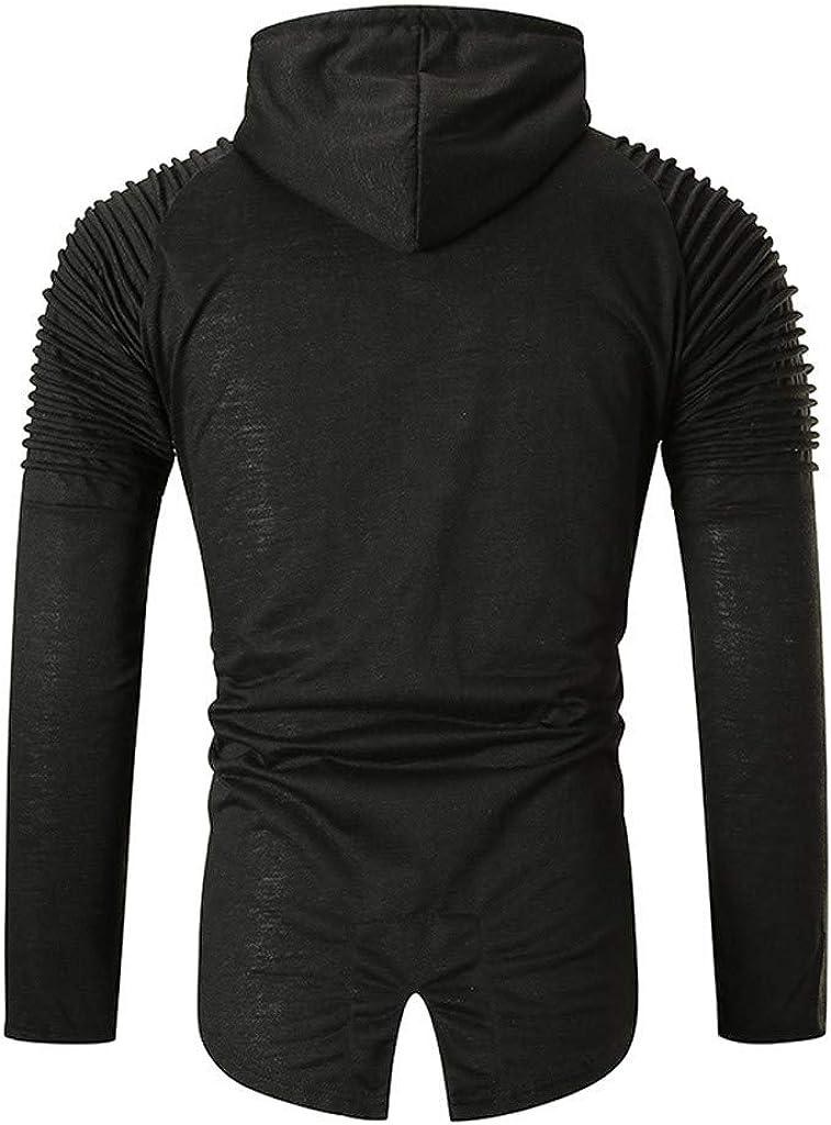 Mens Long Sleeve Hoodie Coat,Males Autum Winter Drawstring Slim Fit Solid Lighweight Outwear Sweatshirt Top
