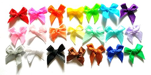 100 Pcs  21 Colors Cute Satin BOW Ribbon Applique Embellishment Decoration  Size 20mm X 25 Mm Assorted Color