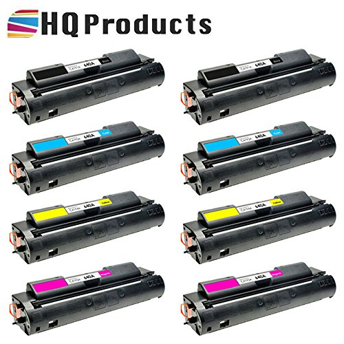 HQ Products Remanufactured Replacement HP 640A 8Pk Set (2xC4191A, 2xC4192A, 2xC4194A, 2xC4193A) B, C, Y, M Toner Cartridges for HP Color LaserJet 4500, 4500DN, 4500HDN, 4500N, 4550 Series Printers.