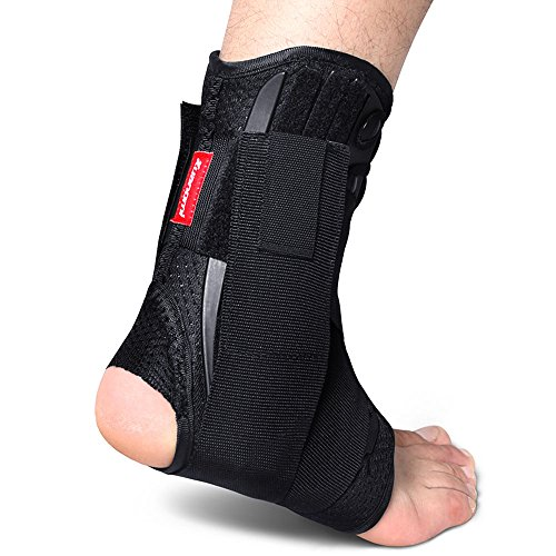 Kuangmi Ankle Brace Lace Up With Side Stabilizers and Cross Auxiliary...