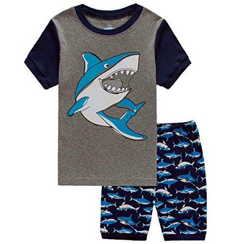 Shark Boy Costume Pattern (Shark Pattern Summer Little Boys' Short Sleeve 2 Piece Pajamas Set 100% Cotton Sleepwear)