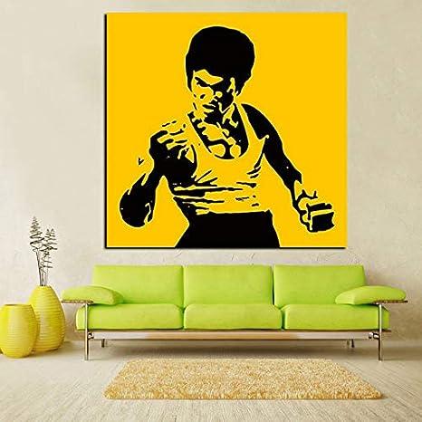JIAYOUHUO HD Print Pop Art Famoso Bruce Lee Pintura al óleo sobre Lienzo Kungfu Star Wall Picture Cuadros Sofá Moderno para la decoración de la Sala de Estar Sin Marco 60x60cm