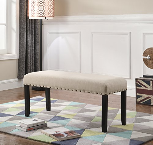 Dining Room Fabric Bench (Roundhill Furniture CB162TA Biony Fabric Dining Bench with Nailhead Trim, Tan)