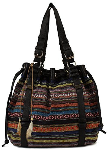 Scarleton Striped Pattern Jacquard Drawstring Bag H156701 - Black