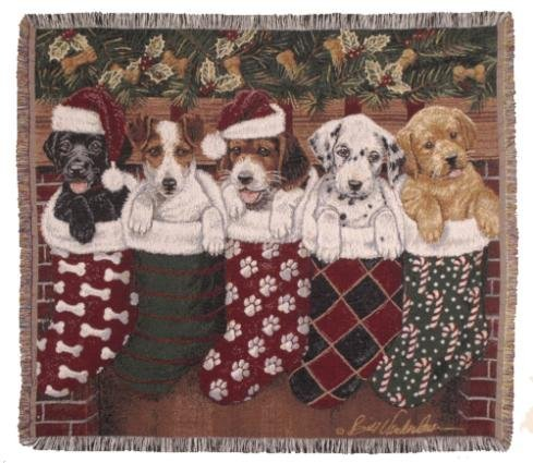 Simply Home Christmas Puppies Dog Tapestry Throw Blanket Made in the USA (Afghan Tapestry Dog Throw Blanket)